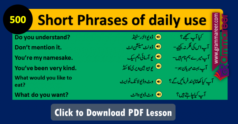 Short Phrases of daily use with Urdu Translation PDF, Short Phrases in Urdu, Spoken English Sentences, Short Sentences and phrases, Basic Sentences, English conversation in Urdu