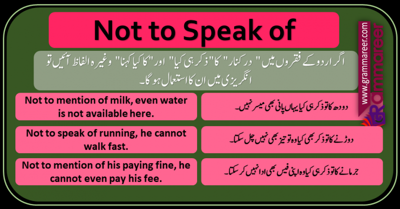 Not to speak of & Not to mention of in Urdu sentences of daily use for speaking practice.
