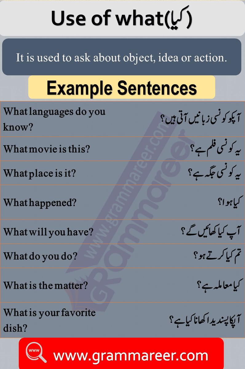 Use of what, Question words in Urdu, Wh Question words, English Grammar lesson in Urdu, Basic Grammar in Urdu