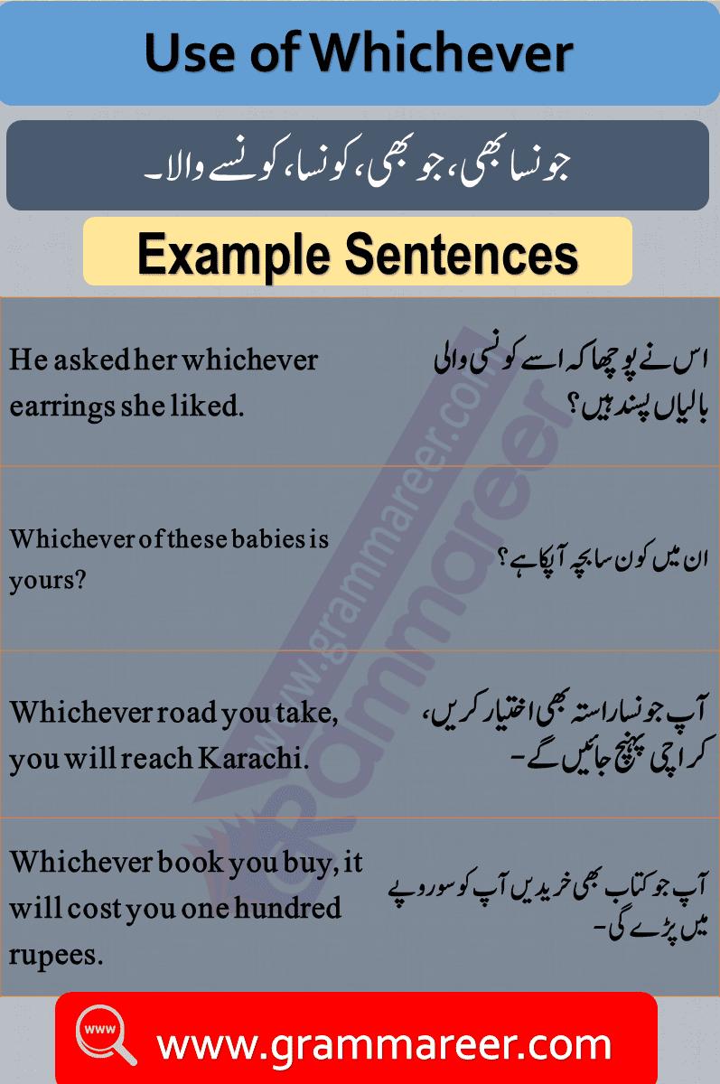 Use of whichever, Question words in Urdu, Wh Question words, English Grammar lesson in Urdu, Basic Grammar in Urdu
