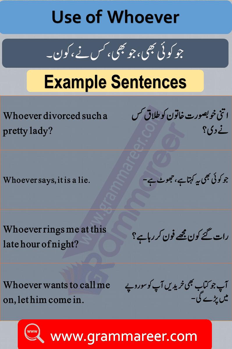Use of whoever, Question words in Urdu, Wh Question words, English Grammar lesson in Urdu, Basic Grammar in Urdu