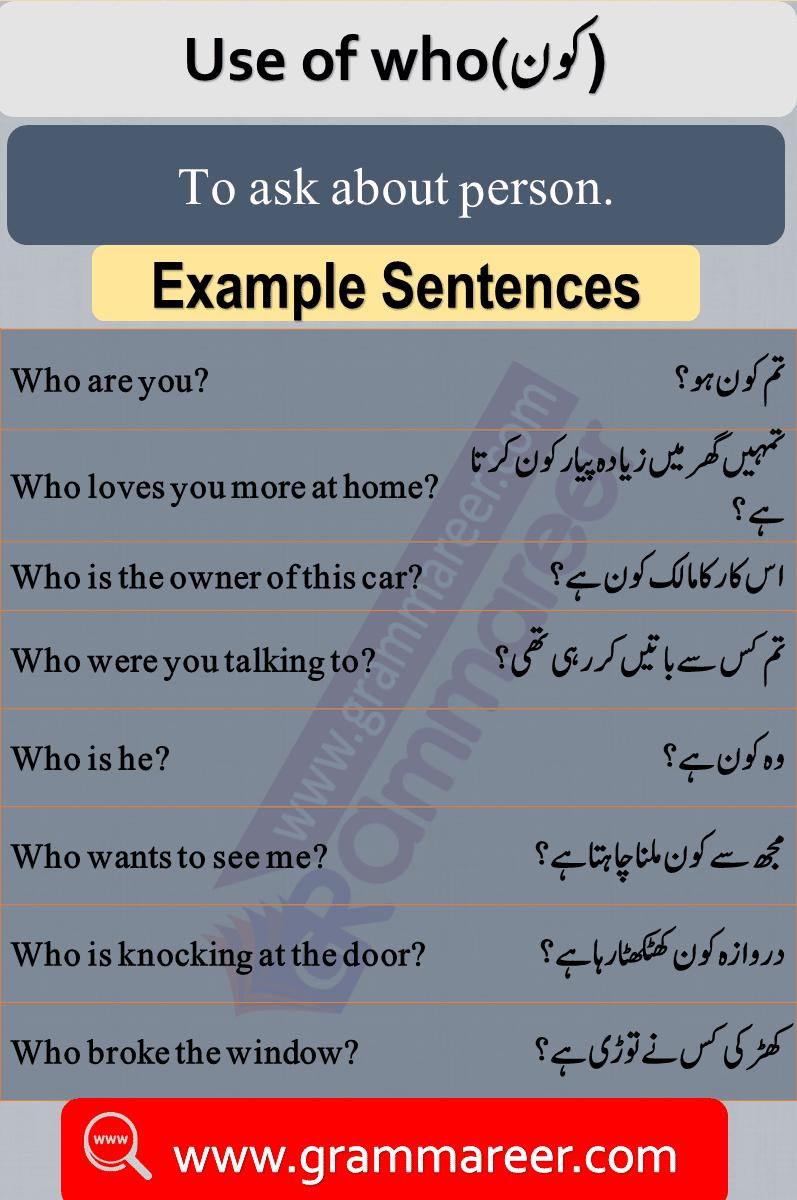 Use of who in Urdu, Question words in Urdu, Wh Question words, English Grammar lesson in Urdu, Basic Grammar in Urdu