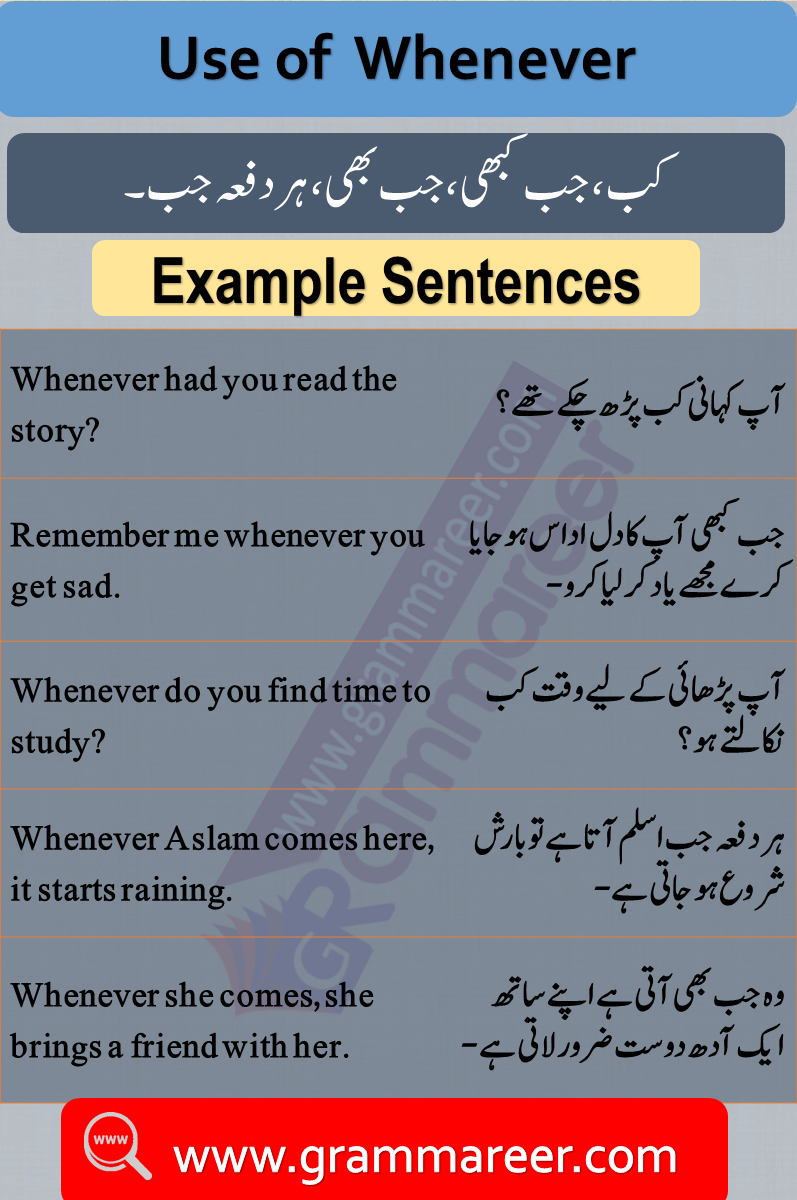 Use of whenever, Question words in Urdu, Wh Question words, English Grammar lesson in Urdu, Basic Grammar in Urdu