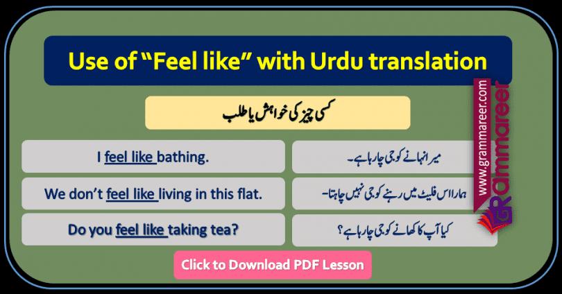 Feel like with Urdu translation, Basic English Lessons in Urdu, English to Urdu grammar, Grammar lessons PDF, Use of structures