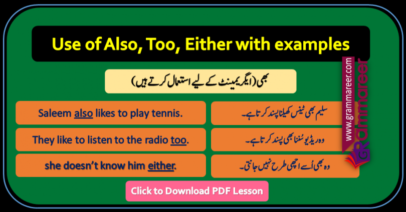 Use of also too either in Urdu, Basic English Lessons in Urdu, English to Urdu grammar, Grammar lessons PDF, Use of structures