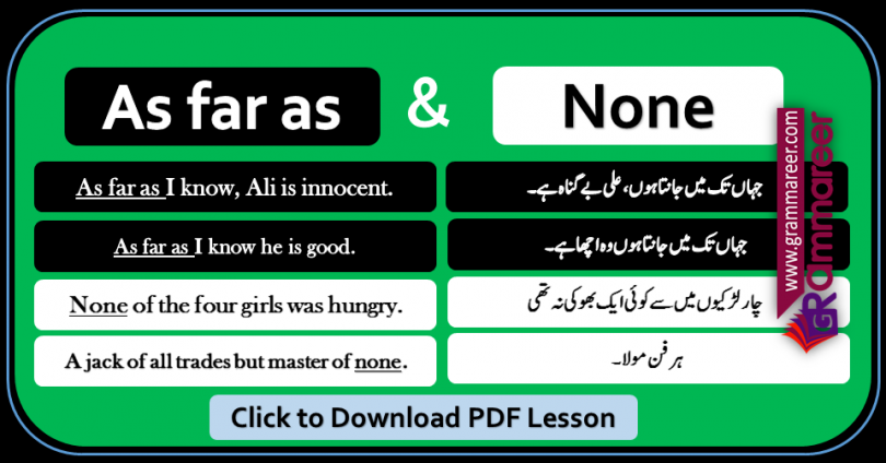 As far as and None with Urdu Translation sentences