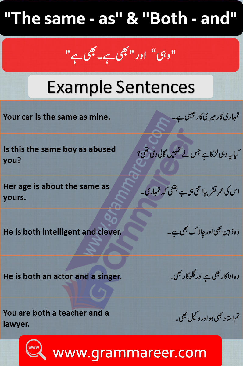 """The same  as"" and ""Both and"" in Urdu PDF"
