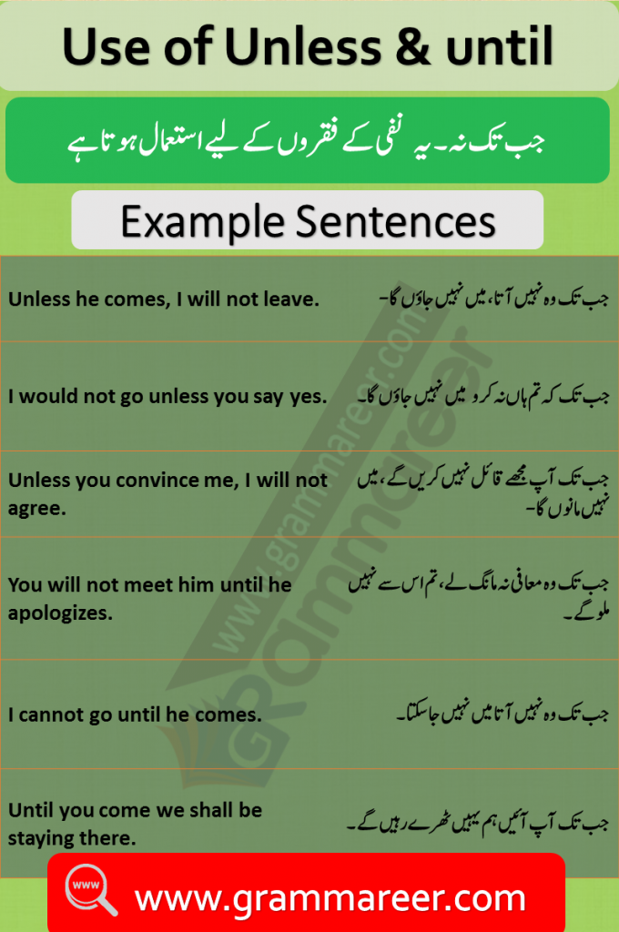 Unless and Until with Examples in Urdu / Hindi sentences of daily use for practice. Use Of Until in Urdu, Use of unless in Urdu, Unless meanings, Until meanings, English Grammar Lessons in Urdu, English Grammar PDF, Learn English Grammar with Urdu Translation