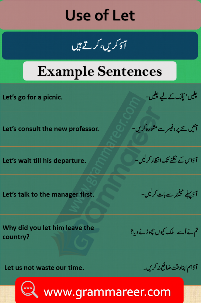 Use of Let in Urdu Translation examples sentences of daily use for practice. Use of Let with Examples in Urdu, Let in Urdu, Use of Let, English Grammar Lessons in Urdu, English Grammar PDF, English Grammar in Urdu