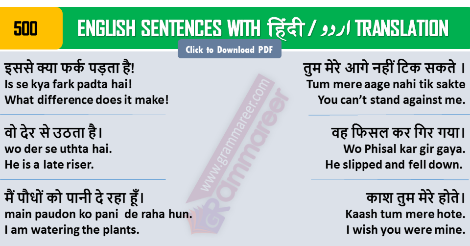 English Sentences with Hindi Translation Daily Used | 500