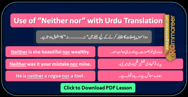Use of Neither nor with Urdu Translation PDF, Basic English grammar in Urdu, Spoken English course in Urdu
