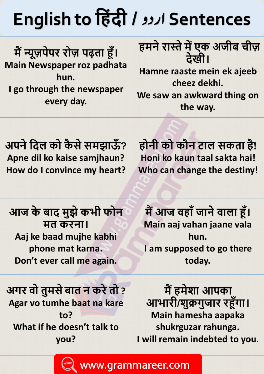 English Sentences with Hindi Translation for Daily Used with PDF 500 English Phrases, Hindi to English sentences for practice, English speaking sentences with Hindi and Urdu Translation with PDF, English to Hindi conversation sentences, sentence translator English to Hindi, online English to Hindi translation, translate Eng to Hindi.