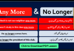 Any More, Any Longer, No Longer with Urdu Translation, Basic English grammar in Urdu, Spoken English course in Urdu