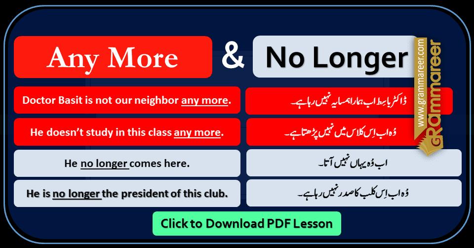 Any More, Any Longer, No Longer with Urdu Translation