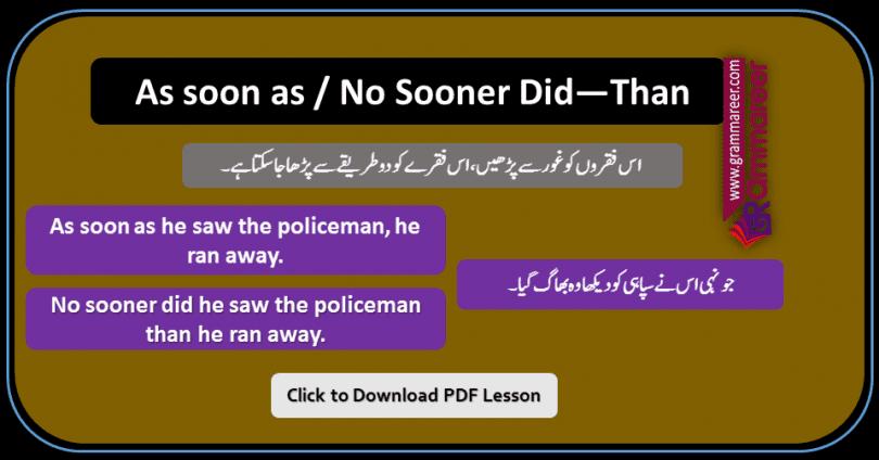 As Soon As and No Sooner Than Did in Urdu examples sentences of daily use for practice. As soon as in Urdu, No sooner than did in Urdu, English Grammar Lessons in Urdu, English Grammar PDF, English Grammar in Urdu