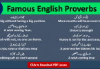 150 Common English Proverbs with Urdu translation Download PDF Free. Daily used English proverbs in Urdu translation, Most Famous proverbs in English and Urdu.