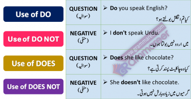 DO, DOES, DON'T and DOESN'T with Urdu Translation this lesson is about learning use of do, does, do not and does not with Urdu translation and example sentences used in daily life for English speaking. English Grammar in Urdu, English speaking course in Urdu