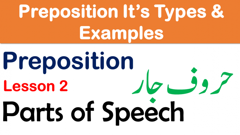 What is Preposition Meanings in Urdu Learn Types of Prepositions with Examples Complete Parts of speech with Urdu explanation, Prepositions of place and Time