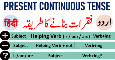Present Continuous Tense in Urdu & Hindi with PDF Present Continuous Tense with Uses and rules Present Continuous Tense in Urdu & Hindi Present Continuous Tense examples Tenses in Urdu Tenses in Hindi Learn 12 Tenses in Urdu PDF English tenses table in Urdu PDF learn English verb tenses in Urdu