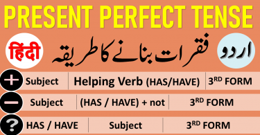 Present Perfect Tense in Urdu & Hindi with PDF & Video, Present Perfect Tense in Urdu & Hindi with Examples & PDF, Learn Present perfect tense in Urdu with examples, uses and PDF Tenses in Urdu, Tenses in Hindi, Learn 12 Tenses in Urdu PDF, English tenses table in Urdu PDF, learn English verb tenses in Urdu