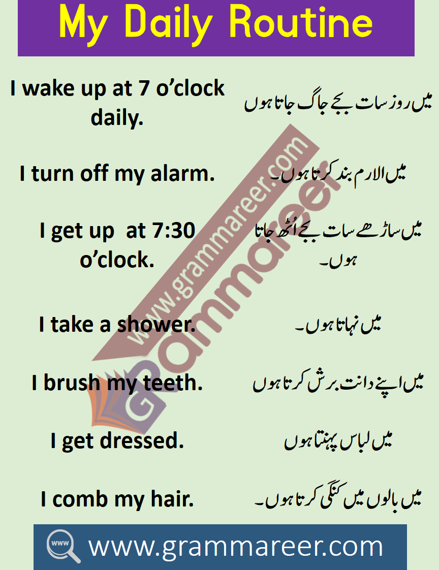 My Daily Routine in English with Urdu & Hindi Translation