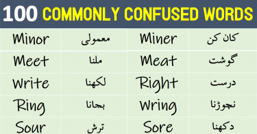 Commonly Confused Words List with Urdu Meanings Get PDF Book Learn Pair of words with Urdu and Hindi Meanings PDF Book Homophones in Urdu and Hindi Meanings