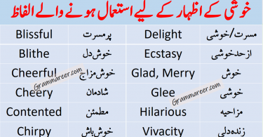 Happiness Related Vocabulary Words List with Urdu also get PDF Book Learn useful happiness vocabulary words with Urdu and Hindi Meanings for enhancing your English vocabulary