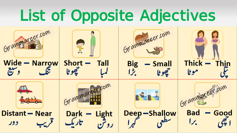 List of Opposite Adjectives in English with Urdu or Hindi learn opposite adjectives with their meanings in Urdu and Hindi for enhancing your English vocabulary.