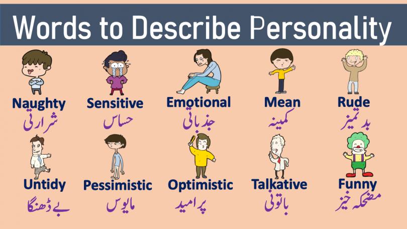 Personality Adjectives Learn a List of useful Words to Describe Personality with Urdu and Hindi Meanings List of character traits for enhancing your English vocabulary