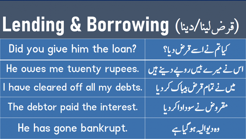 Sentences About Lending and Borrowing with Urdu and Hindi translation for improving your spoken English learn sentences and phrases about borrowing and lending different things with Urdu and Hindi.