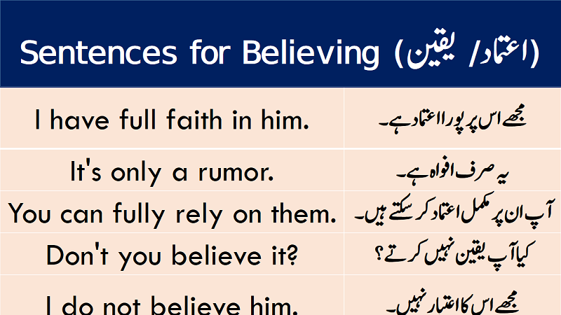Sentences of Believe or Faith with Urdu Translation download PDF Book learn common English sentences for believe and faith with Urdu and Hindi translation.