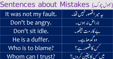 Sentences about Mistakes with Urdu Translation learn common English sentences to talk about mistakes in English with Urdu and Hindi translation for improving your English speaking skills.