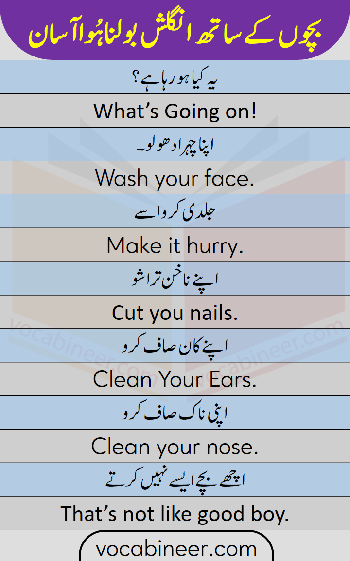 English Sentences for Parents to Speak with Kids in Urdu