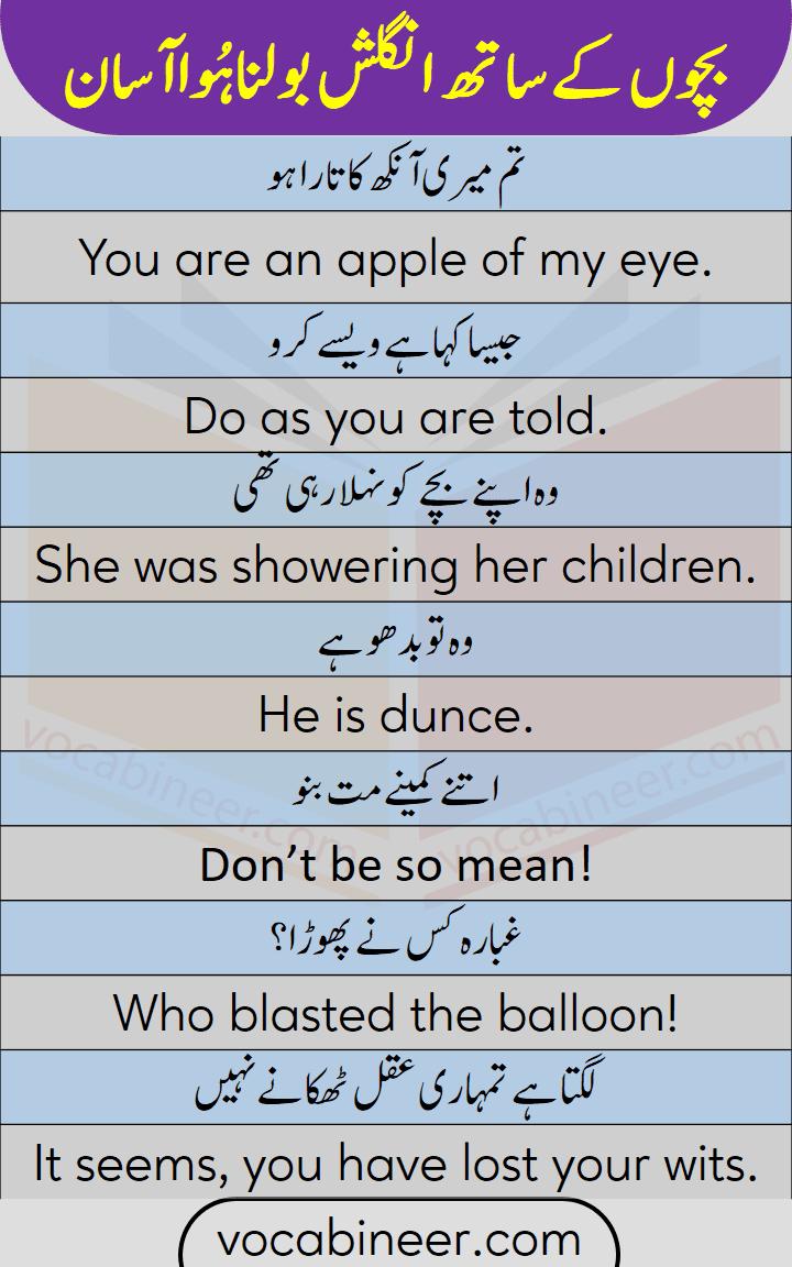 English conversation sentences for kids to speak English with Urdu and Hindi