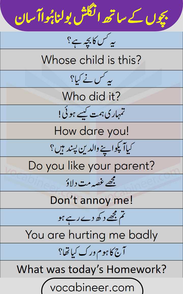 English vocabulary for kids and beginners with Urdu translation