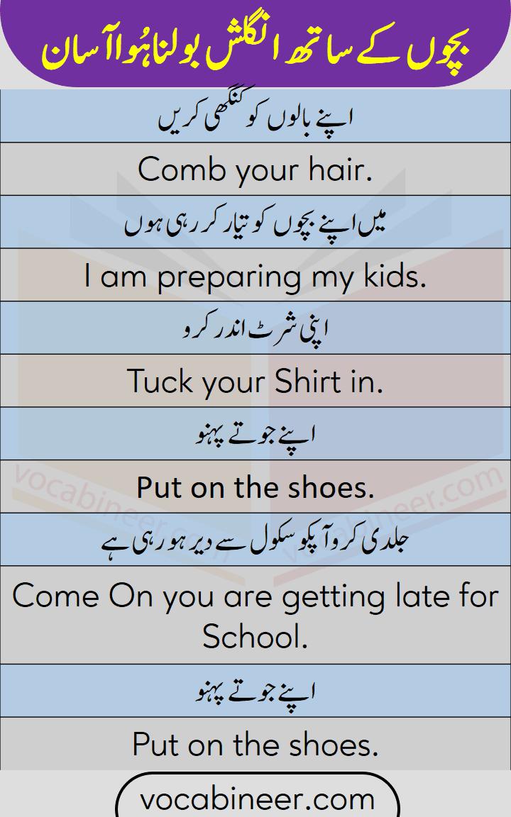 Basic English sentences for speaking English with kids through Urdu and Hindi