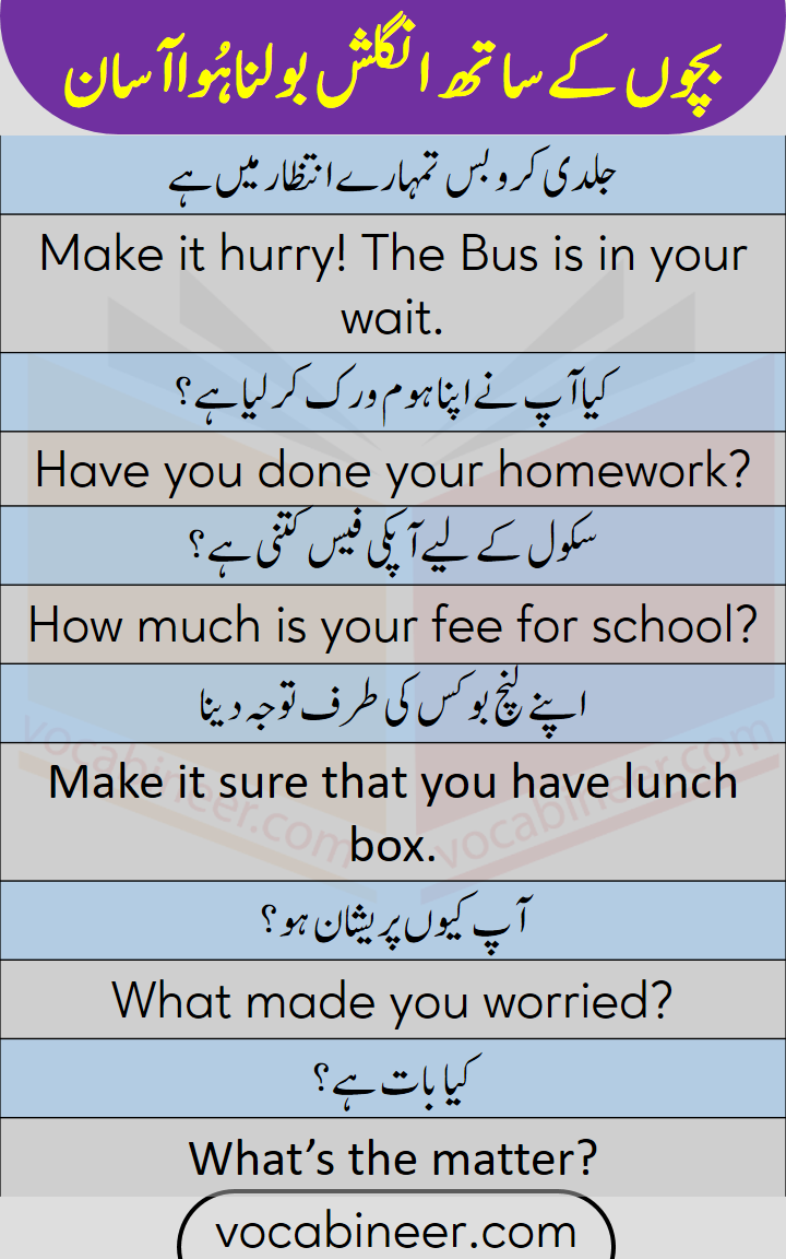 English lesson for kids with Urdu translation