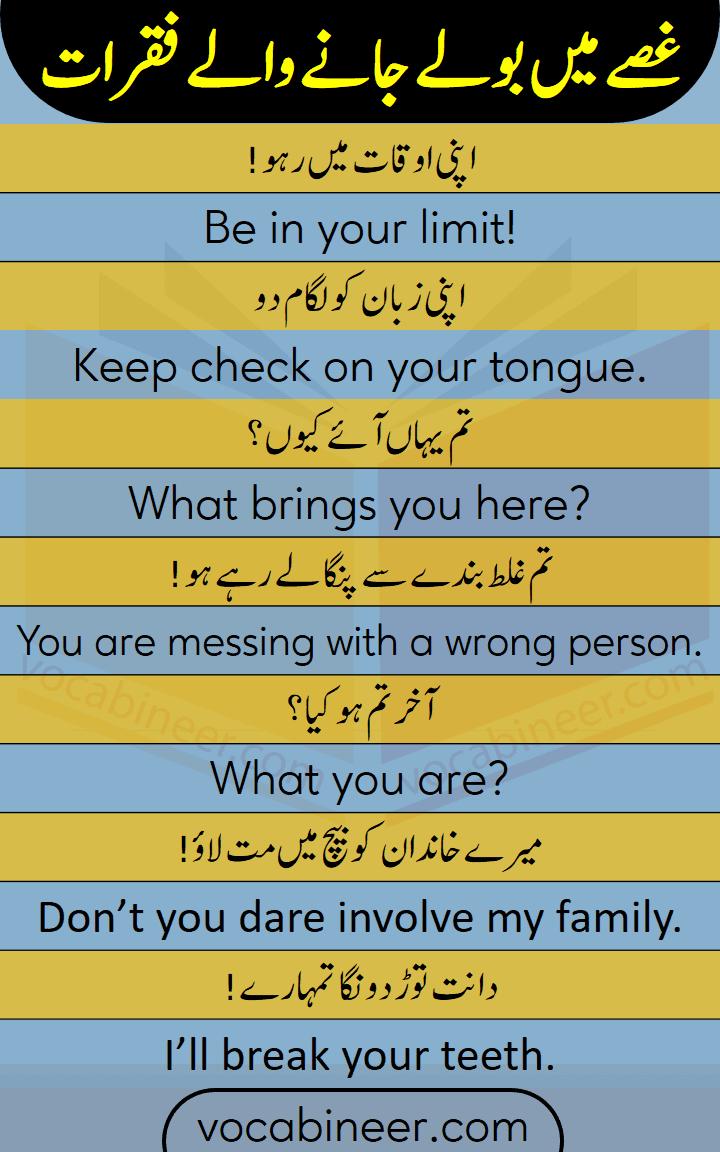 Spoken English sentences in Urdu