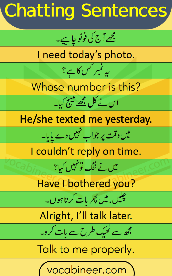 30 chatting Sentences in Urdu and Hindi for Daily Use