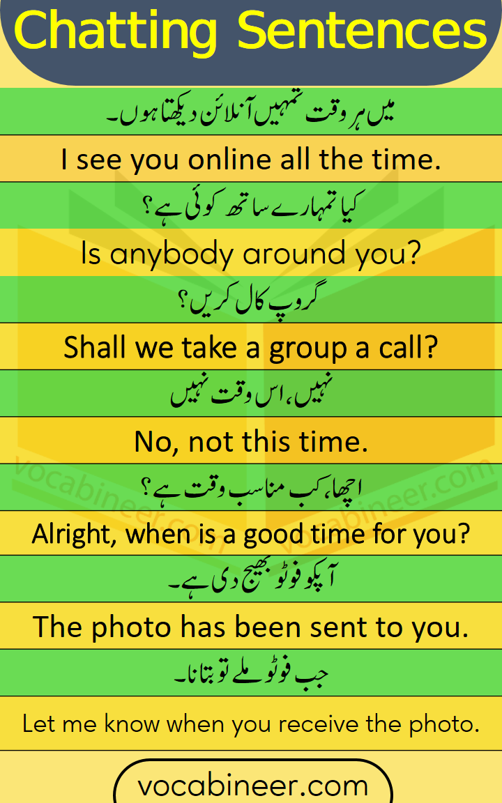 chatting Sentences in Urdu and Hindi for Daily Use