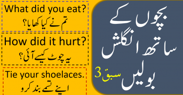 Kids and Parents English Sentences Conversation in Urdu
