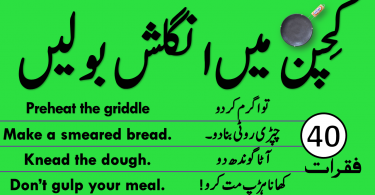 Sentences used in kitchen with Urdu and Hindi Translation for speaking practice in Urdu and Hindi