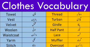 English Vocabulary for Clothes and Dresses with Urdu Meanings