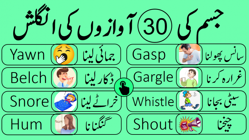 Learn 30 Body Sound Words in English with Urdu Meanings human body produces different types of noises and sounds this lesson is about learning commonly produced sounds by our body with their Urdu meanings