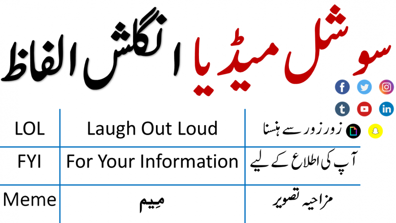 Social Media Vocabulary with Urdu and Hindi Meanings