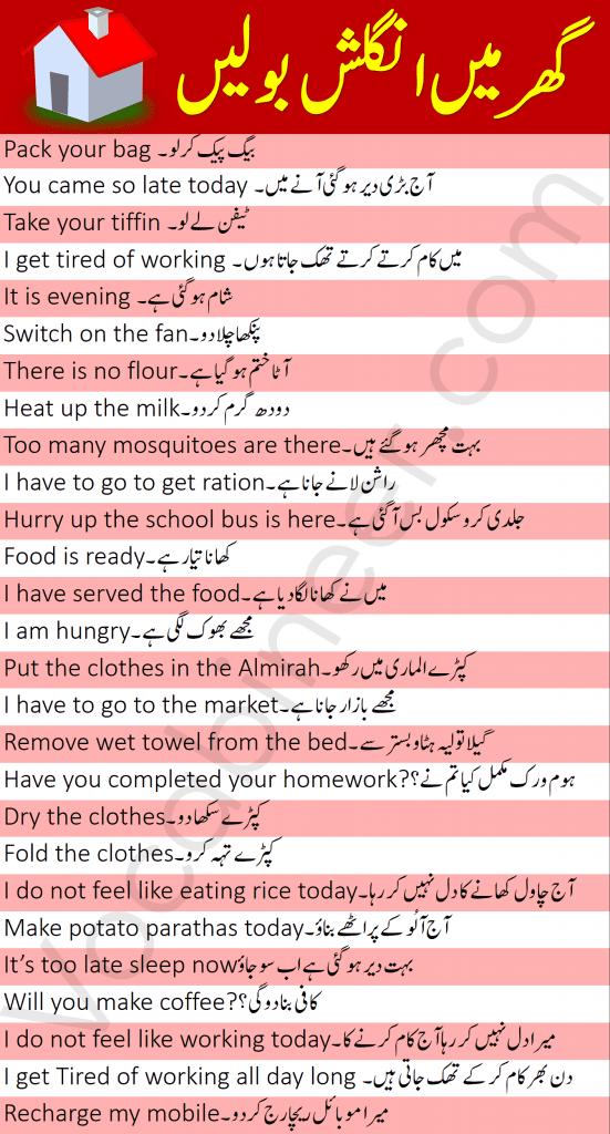 Daily Use English Sentences to Speak English at Home with Urdu, English at home, House use English sentences, Learn to speak English at home, Speak English with your family, Family related English sentences, English to Urdu sentences