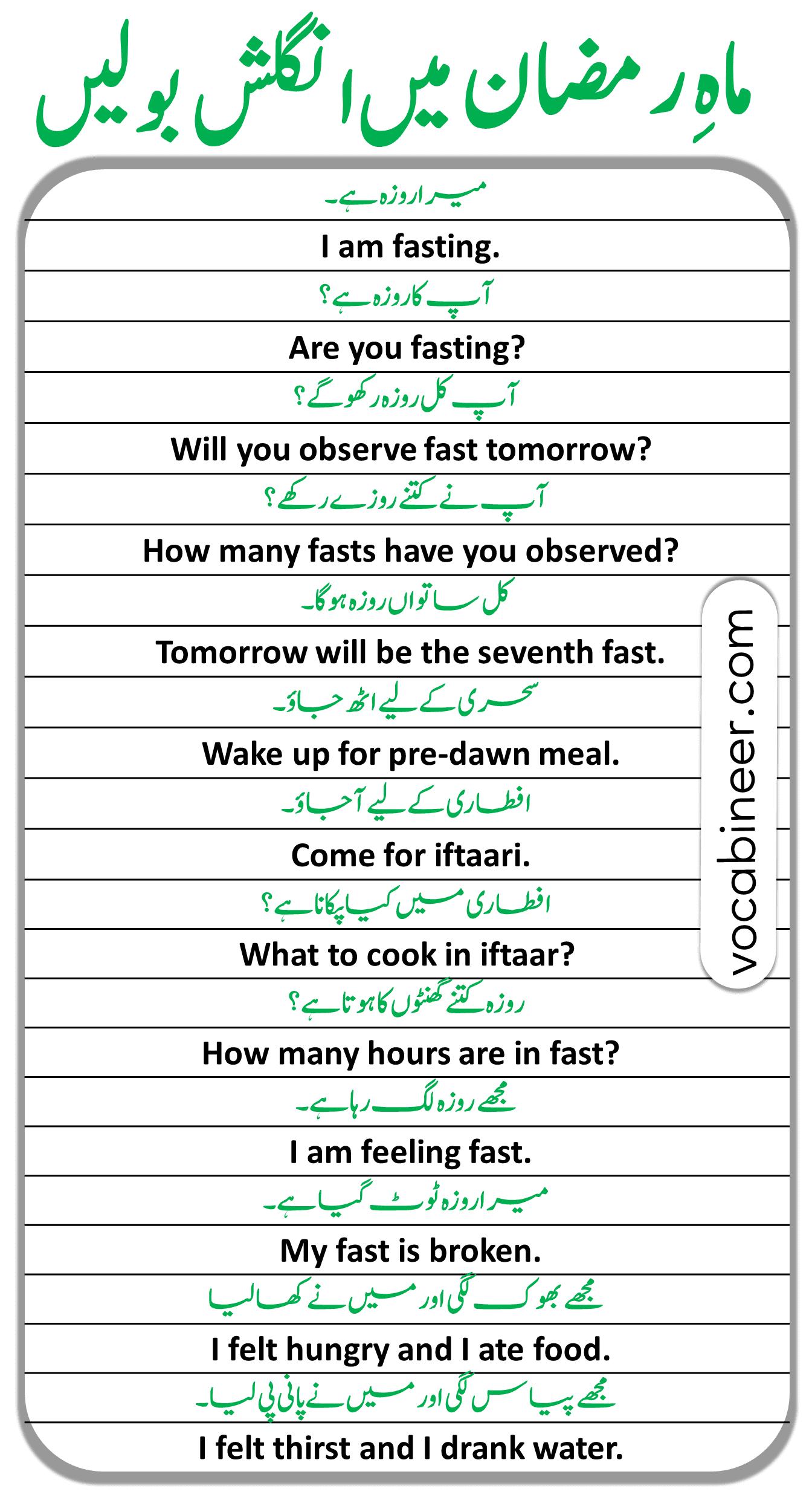 Ramadan Sentences and Vocabulary