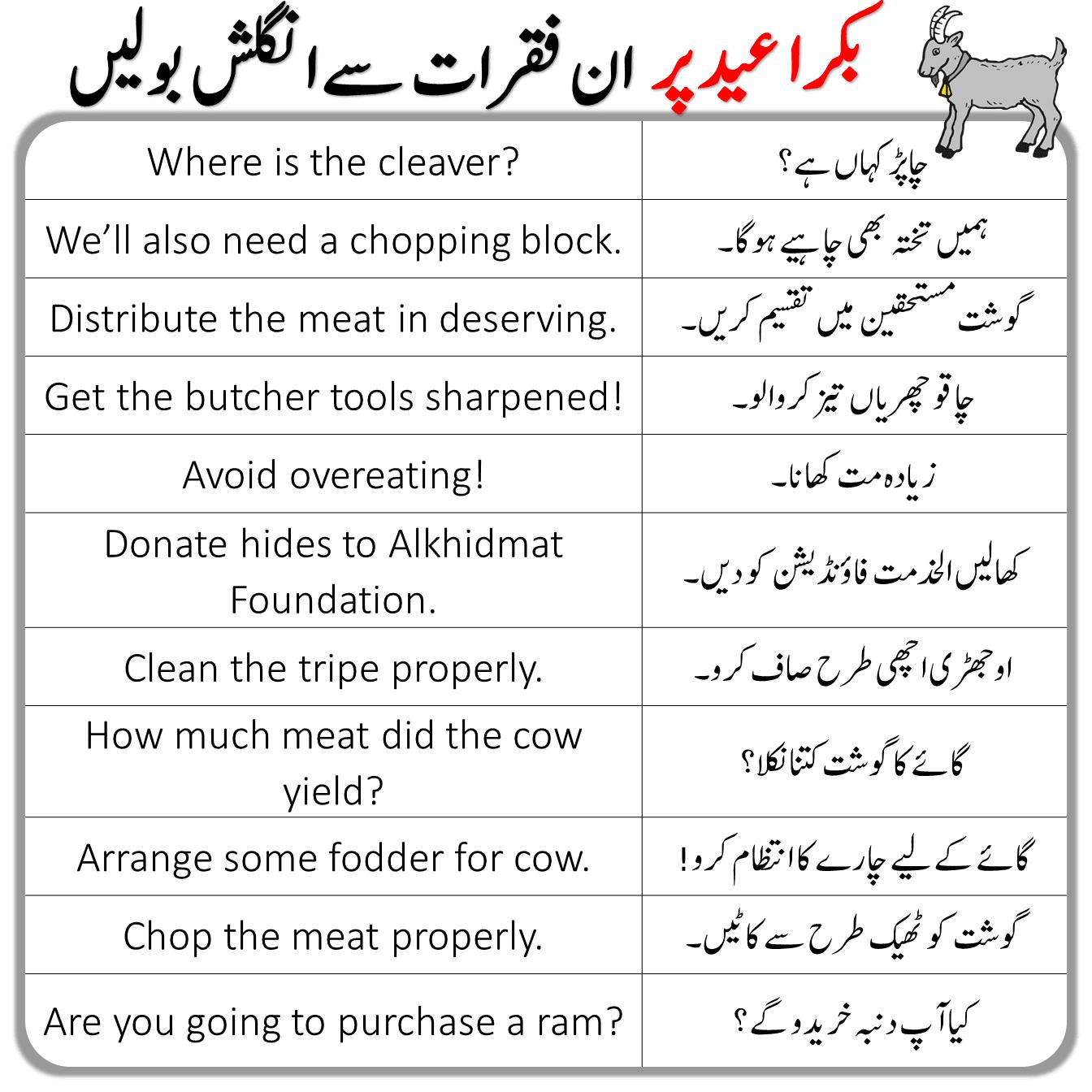Eid Sentences and Vocabulary in Urdu
