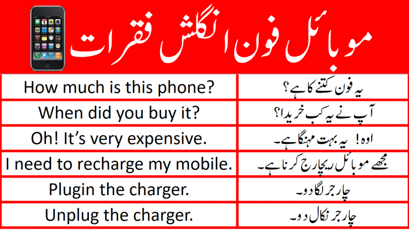 Mobile Phone English Sentences with Urdu Translation